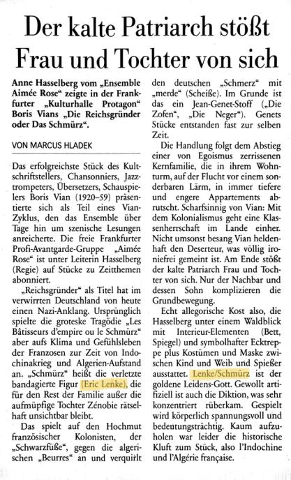 """""""DER KALTE PATRIARCH STÖSST FRAU UND TOCHTER VON SICH"""" Marcus Haldek am  14.09.2017 in der Frankfurter Neuen Presse"""